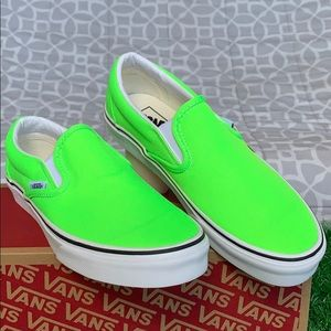 VANS CLASSIC SLIP-ON NEON GREEN GECKO/TRUE WHITE W